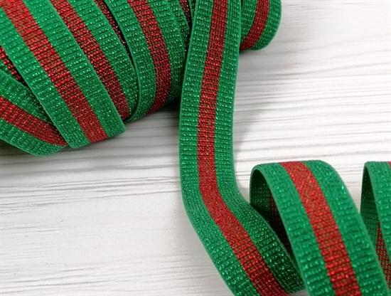 Резинка с люрексом ,зеленый +красный - фото 10767