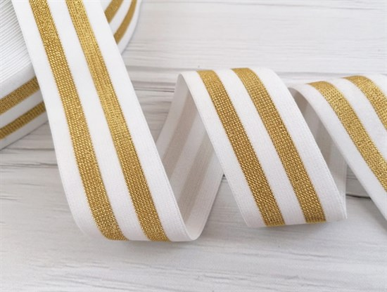 Резинка тканая белая с люрексом,Золото - фото 10824