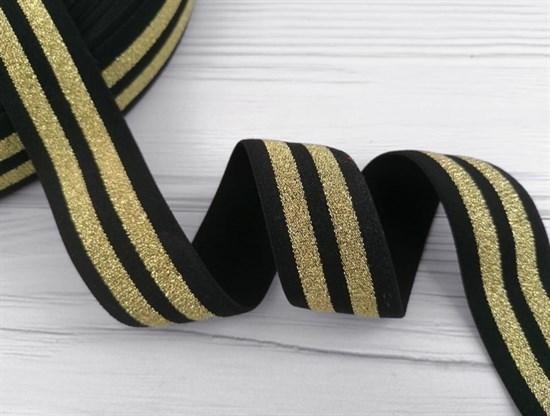 Резинка тканая черная с люрексом,Золото - фото 10830