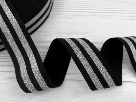 Резинка тканая черная с люрексом,Серебро - фото 10834