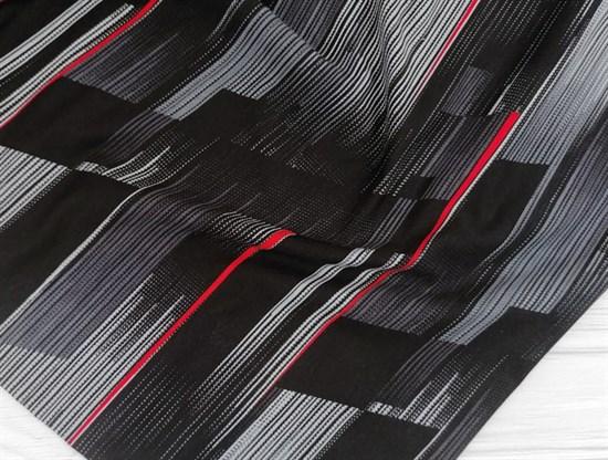 Футер 2х-нитка, полоски горизонт черная,серая ,красная - фото 10945