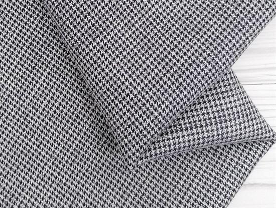 Костюмная ткань FANCY, мелкая лапка синяя с люрексом - фото 10956