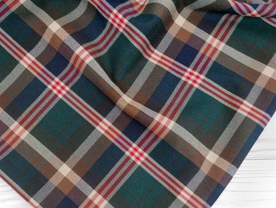 Костюмная ткань КЛЕТКА, коричневая - фото 10965