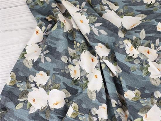 Цветы камуфляж, футер 2х нитка - фото 11187