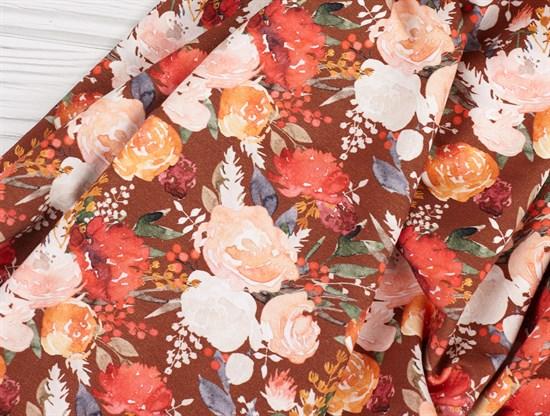Цветы на бордо, футер 2х нитка - фото 11193