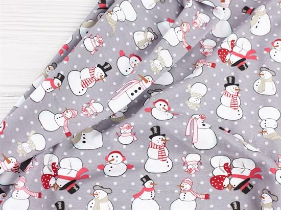 Кулирка Снеговики на сером - фото 11343