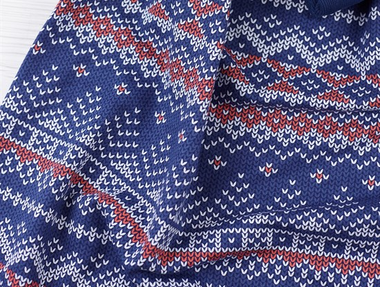 Футер Зимний узор - синий - фото 11344