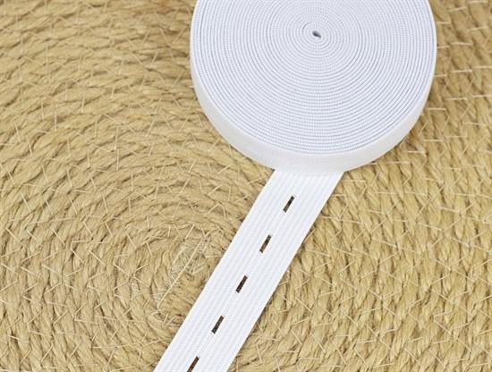Резинка тканая с петлями, белая 20мм - фото 11966