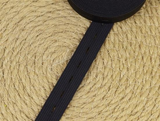 Резинка тканая с петлями, черная 20мм - фото 11968