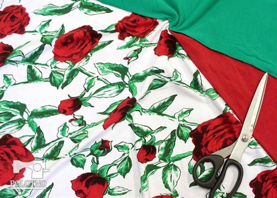 Футер 2х-нитка, Розы на белом - фото 12157