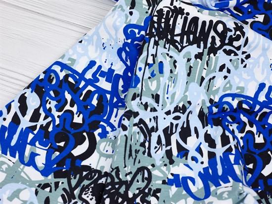Кулирка с лайкрой, Граффити сине-белые - фото 12444
