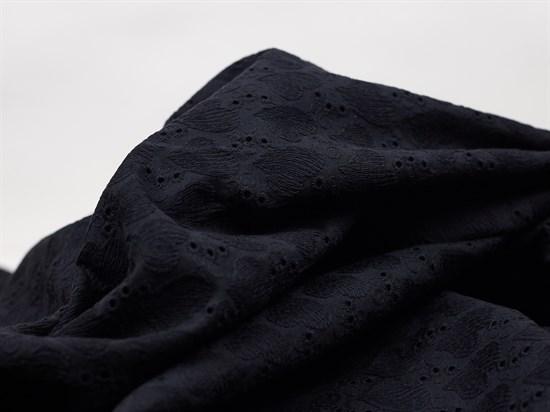 Хлопок шитье сердечки черный - фото 12500