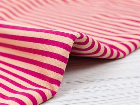 Футер 3х нитка петля, полоска розовый/персик - фото 12591