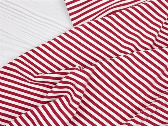 Кулирка с лайкрой, полоска красная/белая - фото 12600