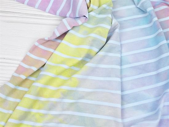 Кулирка с лайкрой полоска, тай-дай пастельный радуга - фото 12607