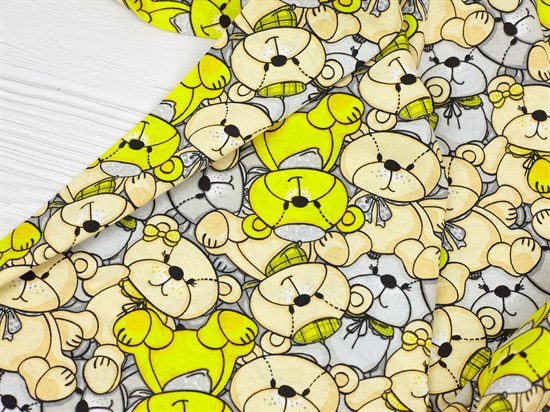 Кулирка 100% хб, желтые мишки - фото 12656