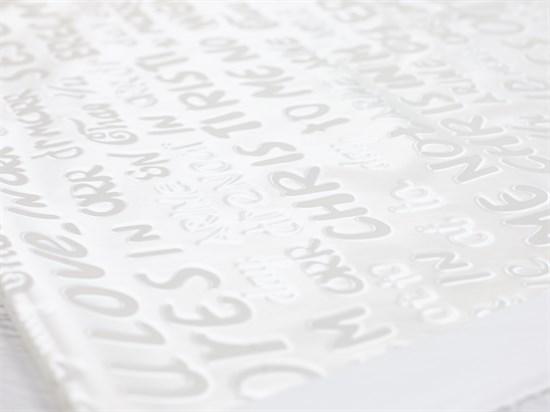 Плащевая ткань Буквы 3D, белый - фото 12724