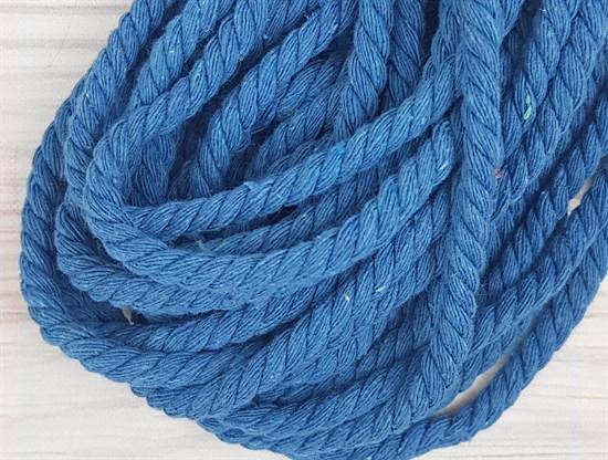 Шнур крученый, 100% хлопок, 8мм, голубой - фото 12836