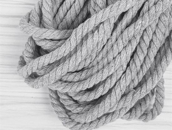 Шнур крученый, 100% хлопок, 8мм, св.серый - фото 12837
