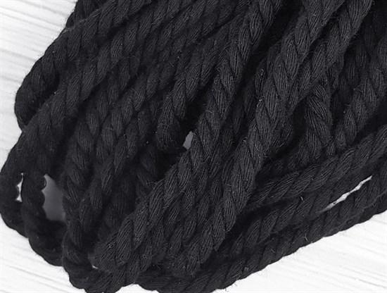 Шнур крученый, 100% хлопок, 8мм, черный - фото 12839