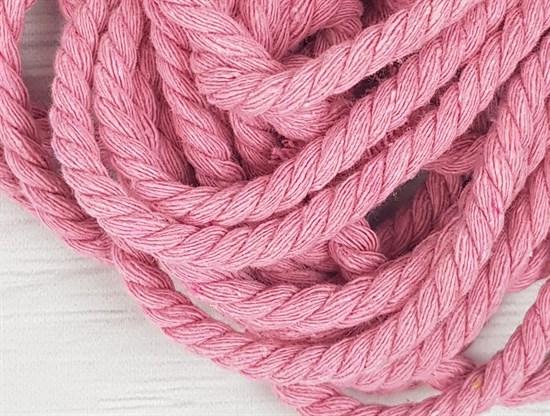 Шнур крученый, 100% хлопок, 8мм, розовый - фото 12840