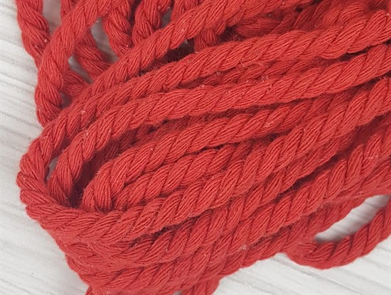 Шнур крученый, 100% хлопок, 8мм, красный - фото 12841