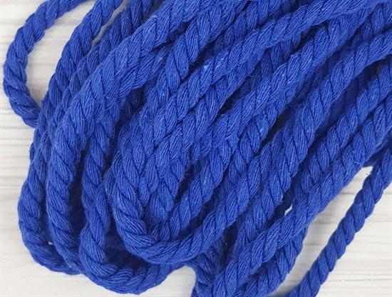 Шнур крученый, 100% хлопок, 8мм, синий - фото 12843