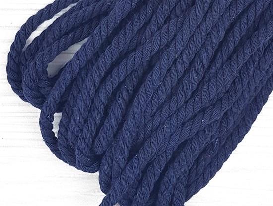 Шнур крученый, 100% хлопок, 8мм, темно-синий - фото 12845