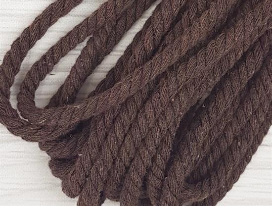 Шнур крученый, 100% хлопок, 8мм, коричневый - фото 12846