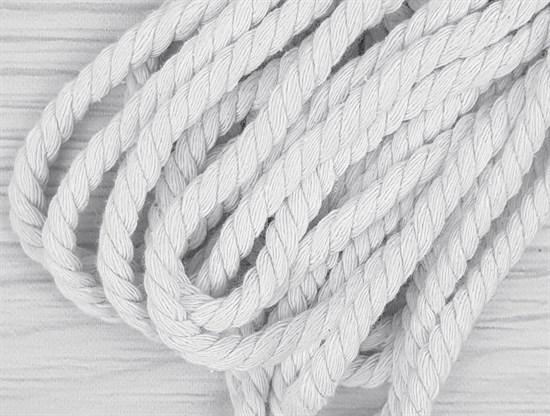 Шнур крученый, 100% хлопок, 8мм, белый - фото 12848