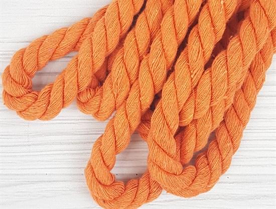 Шнур крученый, 100% хлопок, 15мм, оранжевый - фото 12851