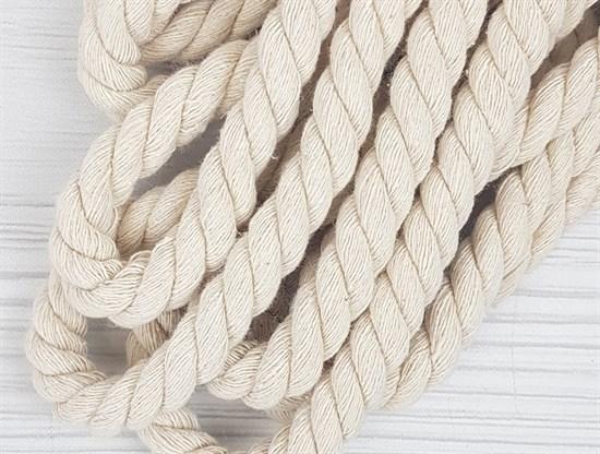 Шнур крученый, 100% хлопок, 15мм, натуральный - фото 12853