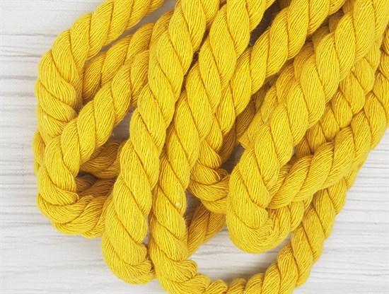 Шнур крученый, 100% хлопок, 15мм, желтый - фото 12855