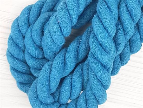 Шнур крученый, 100% хлопок, 25мм, голубой - фото 12872