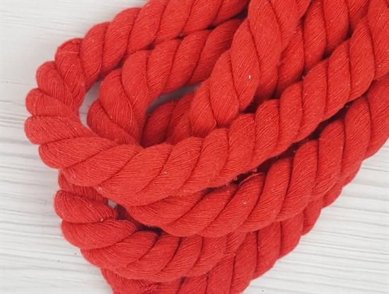 Шнур крученый, 100% хлопок, 25мм, красный - фото 12882