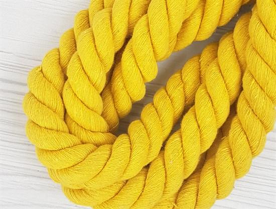 Шнур крученый, 100% хлопок, 25мм, желтый - фото 12884