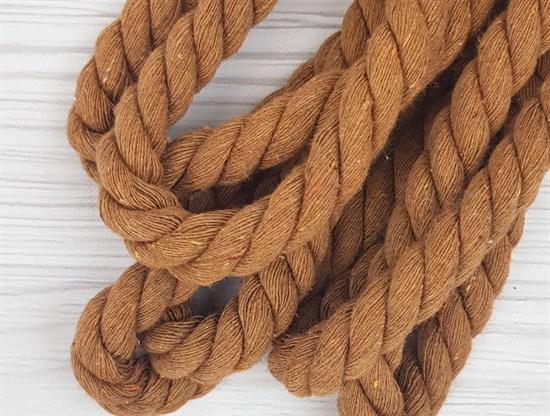 Шнур крученый, 100% хлопок, 15мм, коричневый - фото 12887