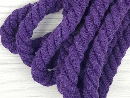 Шнур крученый, 100% хлопок, 15мм, фиолетовый - фото 12888