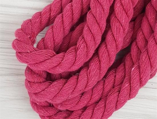 Шнур крученый, 100% хлопок, 15мм, ярко-розовый - фото 12889