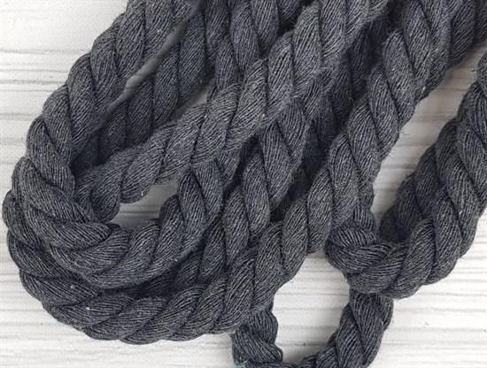 Шнур крученый, 100% хлопок, 15мм, темно-серый - фото 12892