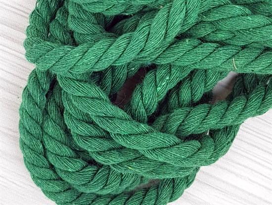 Шнур крученый, 100% хлопок, 10мм, зеленая трава - фото 12894