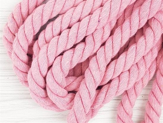 Шнур крученый, 100% хлопок, 15мм, розовый - фото 12895