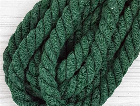 Шнур крученый, 100% хлопок, 15мм, темно-зеленый - фото 12896
