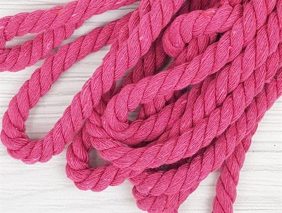 Шнур крученый, 100% хлопок, 10мм, ярко-розовый - фото 12900