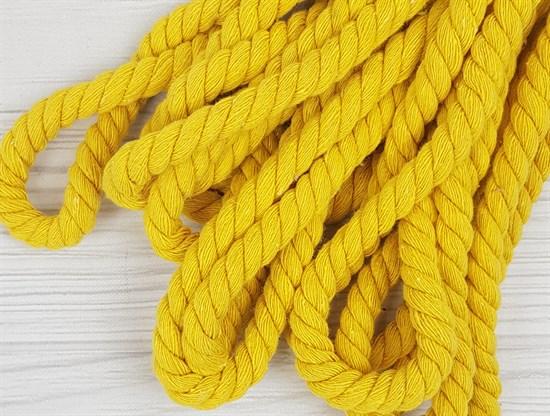 Шнур крученый, 100% хлопок, 10мм, желтый - фото 12902