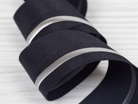 Резинка окантовочная с перегибом, черный + серебро, 40мм - фото 12913