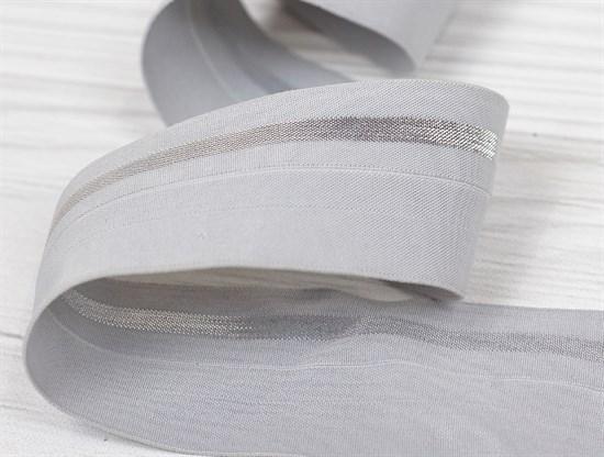 Резинка окантовочная с перегибом, серый + серебро, 40мм - фото 12916