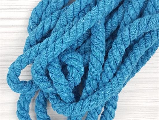 Шнур крученый, 100% хлопок, 10мм, голубой - фото 12934