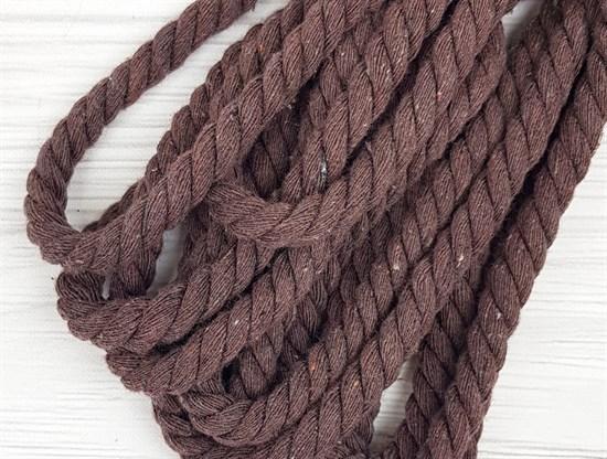 Шнур крученый, 100% хлопок, 10мм, коричневый - фото 12935