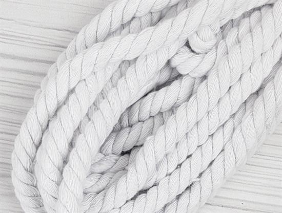 Шнур крученый, 100% хлопок, 10мм, белый - фото 12937